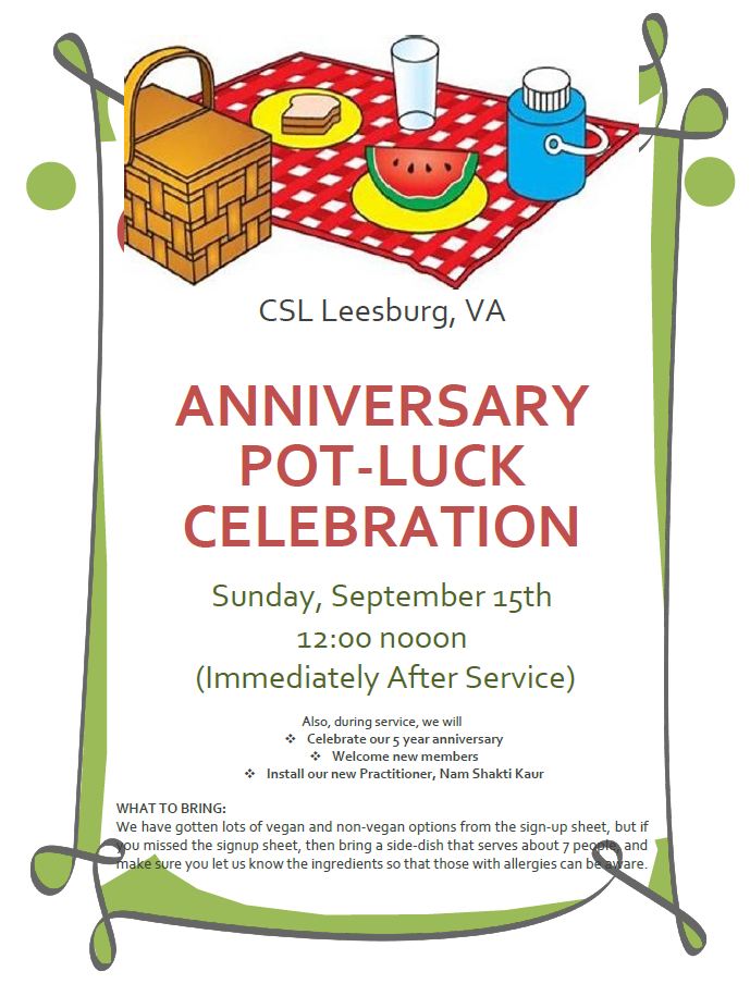 Tomorrow: CSL ANNUAL POT Luck / Picnic Anniversary Party